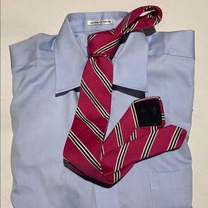 Brooks Brothers Slim Tie Pink /Navy & White Stripe